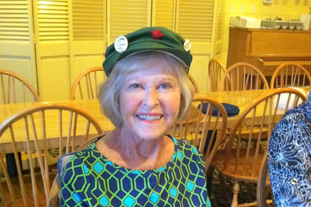 Joan Madrid, a charter member of the Colorado Chapter, wore a hat from China.