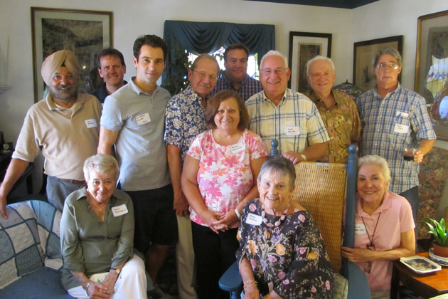June 2013 New England gathering. Sitting from left to right: Themis Stoumbelis, Mary Sweeney and Joelle Wartosky. Standing from left to right: Arvi Bahal, John Stelling, Gianpiero Menza, Harvey Wartosky, Anush Dawidjan, Gunnar Dahlberg, Dave Netz, Jerry Sweeney and Ned Lynch (our gracious host). Present, but taking the photo: New England Area Coordinator Dave Santulli.