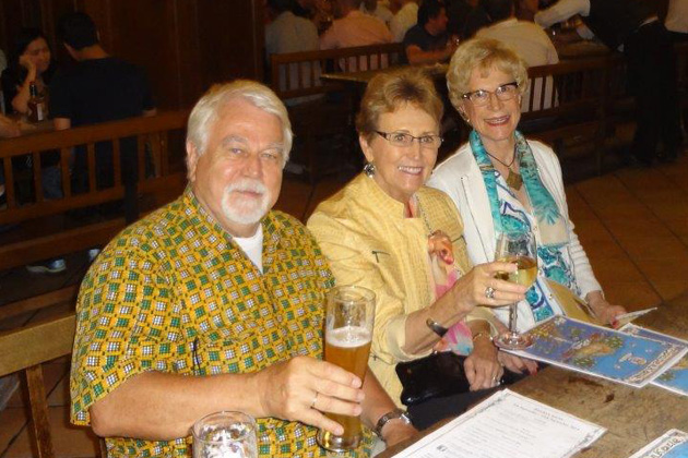 Enjoying Munich's Hofbrauhaus after the meeting are German Area Coordinator J. Herbert Goebels, Audrey Walsworth from Marceline, MO, and Christiane Jauch from Paris.