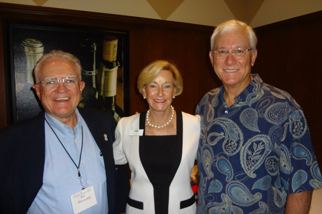 Pictured at the September luncheon are Ed Reynolds, TCC Treasurer Gloria McCoy, and Speaker John Rowe.