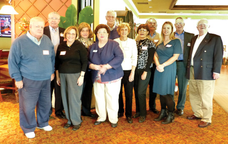 Guests at the January 2014 Southwest Florida gathering (left to right): Ken Chamberlain, Larry Nutt, Taura Durand, Katherine Nutt, Lillian O'Leary, Don Irvine, Nancy Irvine, Marjory Knipscheer, John Robinson, Amanda Davis, Tom Gregory and Neil O'Leary