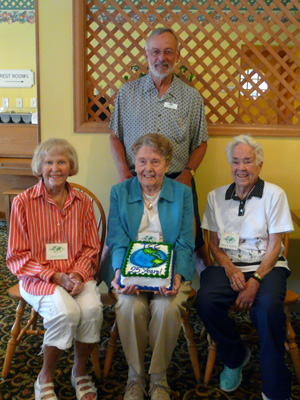 Left to right: Charter members Joan Madrid, Darlene Jamison, Bonnie O'Leary and David Van Treuren