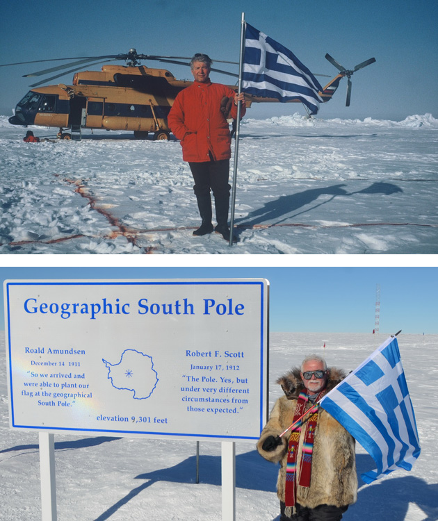Charalampos Bizas, from Athens, Greece, who is just four short of accomplishing visits to all the 324 TCC destinations, sends us photos of his visits to the South Pole last December (top photo) and to the North Pole 20 years earlier, in May, 1995. The missing destinations to complete his TCC list: Midway and Wake islands, BIOT (currently closed) and Tokelau.