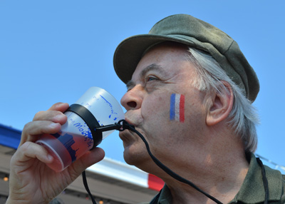 Enjoying a kir during Bastille Day celebrations in the capital of St. Pierre.