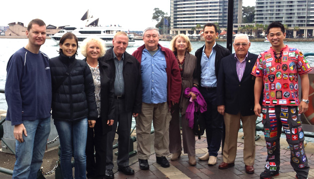 The inaugural gathering of TCC members in Sydney, Australia (left to right): Earl Hemphill, Romina Ochner, Merle Wood, Jack Wiard, Peter Deegan, Irena Nebenzahl, Jason Gauci; Phillip Bowater and Don Bales