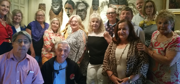 The spring 2016 meeting of the Southeast Florida TCC Chapter. From left to right: Jan Novar (Cbapter Coordinator), Barbara Spanakos, Bev Trav, Marlene Soloman (hostess), Cecelia Rokushek, Kitt and Al Schneider, Bob Petrik,Nancy Flinn, Ned, Nikolai Spanakos, Anush Dawidgian. Leonardo Hochman gave video presentation of his travels.