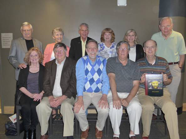 The spring 2016 Arkansas Chapter gathering. Back row, left to right: Bill Henderson-Cleland, Cora Lee Brannon, Aaron Lubin, Linda Bell, Debra Grandle and Richard Brannon. Front row, left to right: Judith Henderson-Cleland, Charles Merkel, Steven Clift, Alex Pappas and Denny Grandle.