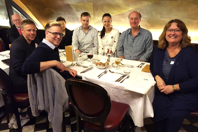 Some of the UK members at the April meeting at the Tutton Vaults in London — Nathan Perry, Speaker Gunnar Garfors, Ges Roulstone, Lucy Cooper, Peter Bancroft, Sarka Kinclova from the Czech Republic, Austin Erwin, Coordinator Donna Marsh.