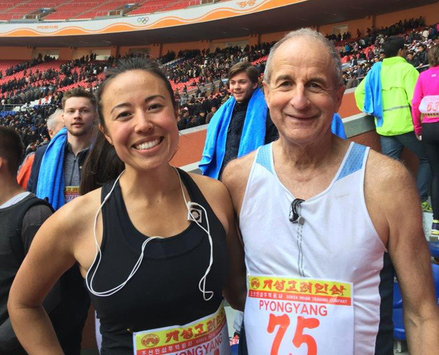 TCC's Kansas City Coordinator Steve Fuller is pictured with new friend Sophie Hilaire after the marathon in Pyongyang, North Korea. TCC President Gloria McCoy also participated in the marathon.