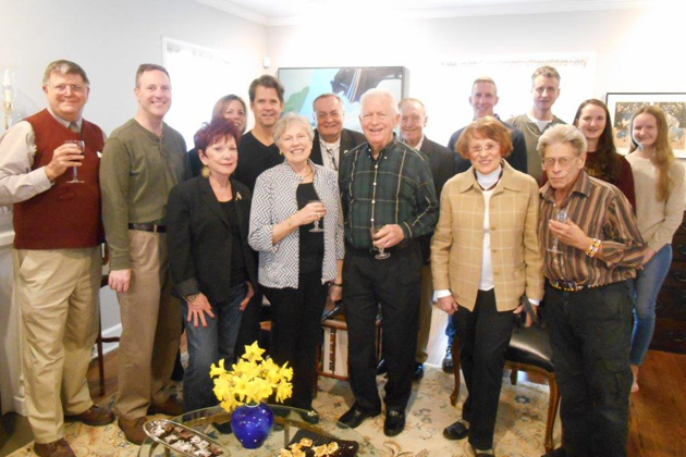 The Flannigans hosted the Illinois chapter meeting in April. Front Row: Janice Christiansen, Karen and Raymond Schlueter, Hanna Hvorka, Jerry Porzemsky; Back Row: TCC St. Louis Coordinator Charles Merkel. Dave Berhenke, Stacey Wells, Rick Farrell, TCC Board Member Kevin Hughes, Bob Bonifas, Christian Hambac, Host Tom Flannigan, Erin and Megan Flannigan. (Photo taken by Co-Hostess Ellen Flannigan).