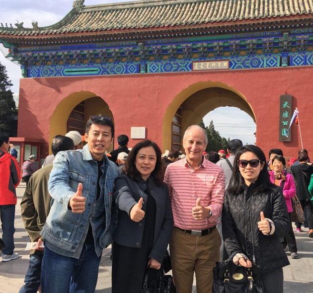 Gloria and Steve met with China TCC member Arthur Wei Zhang during their stay in Beijing following the North Korea marathon. Pictured at the gate of the Temple of Heaven in Beijing are Arthur, his producer Lily Zhang, Steve, and Arthur's assistant Elsie Ai.