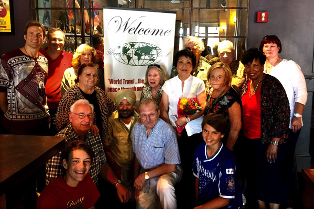 July 2016 New England gathering. Standing from left to right: New England Coordinator Dave Santulli, Ron Levin, Kate O'Hare, Anush Dawidjan, Noel Mann, Nyep (our guest speaker, former Cambodian Ambassador's wife, chef and resturanteur),  Daan Sandee, Mary Sweeney, Jerry Sweeney, Marjorie Ramsey and Deborah Janis. Kneeling from left to right: Dave Netzer, Troy Santulli (Dave's son, age 15, close to full membership with 92 countries), Arvi Bahal, Harvey Wartosky and Tristan Santulli  (Dave's son, age 13, close to full membership with 92 countries)