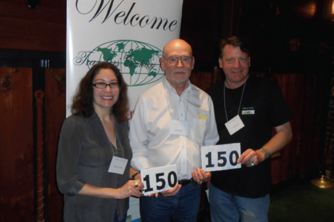 Also at the Northern California luncheon, recognized for reaching the 150-country mark are (l-r) Wendy Arbeit, Ed Wilson, and Craig Roark.