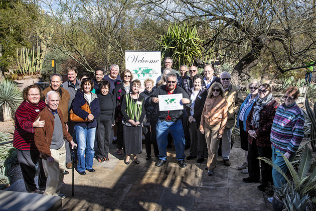The Phoenix chapter met at the Desert Botanical Gardens in February. Area Coordinator Matt Cohen is in the center, holding the TCC sign.