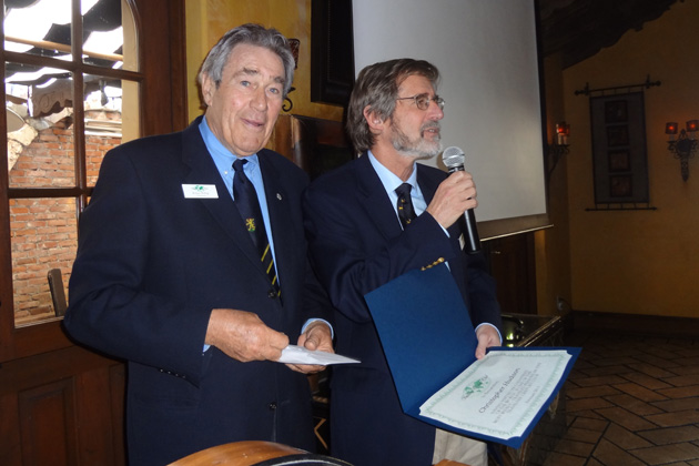 TCC Chairman Klaus Billep presented a  certificate for achieving the Platinum level by visiting 250 or more countries & territories to Past President and current Board Member Christopher Hudson at the March 2013 Southern California meeting in Santa Monica.