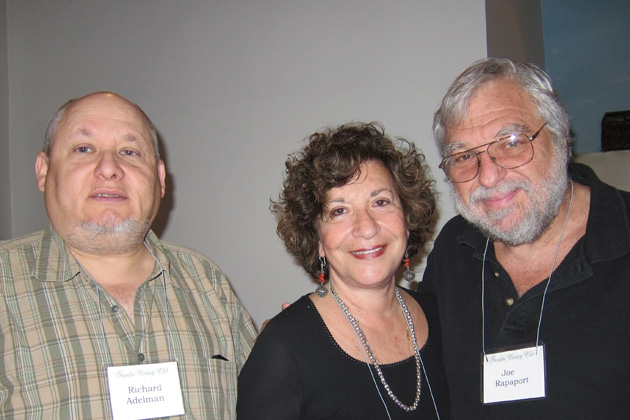 Richard Adelman, left, with Bonnie and Joe Rapaport. Richard last presented on travels across Germany, Switzerland and Poland. Joe finds theme restaurants for each meeting.
