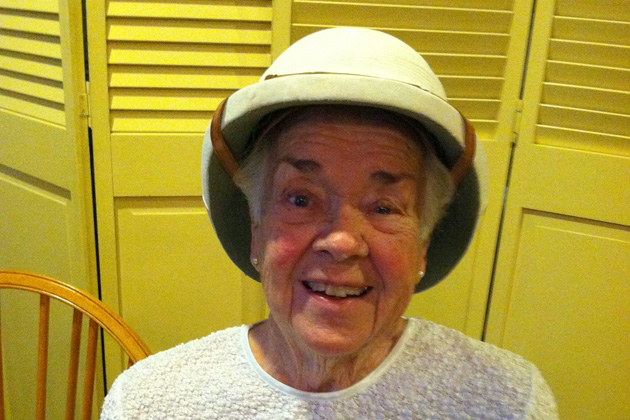 Charter member Bonnie O'Leary wore a hat from India.