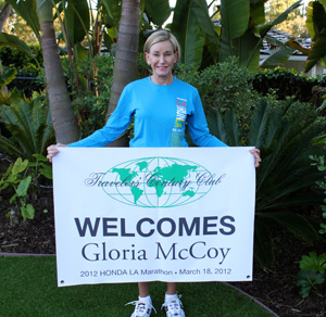 TCC Treasure Gloria McCoy is welcomed by TCC Headquarters as she completed last year's Los Angeles Marathon. She had finished third in her division. It took her four hours and 50 minutes, running from Dodgers Stadium to Santa Monica's Ocean Avenue.
