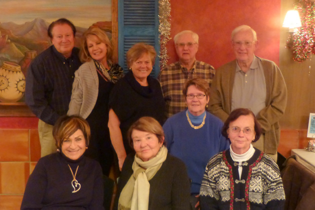 Front row (left to right):  Helene Eckstein, Irene Godden, Phyllis McGuire, Barbara Jackson; Back row (left to right):  Patrick Quinlan, Deanna Quinlan, Geri Lundberg, Jim Downs, Al Brown