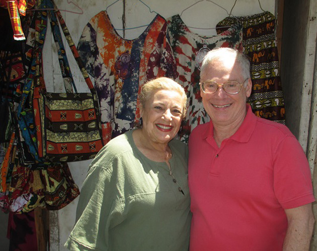 Barbara Stein and Ted Cookson in the handicrafts market in Dakar, Senegal, toward the end of their world cruise on Crystal Serenity from Los Angeles to Southampton. Some of the highlights of the 89-day cruise included: a visit to the second-largest Buddha in Japan at Kamakura; an exciting trishaw ride through the streets of Hue, Vietnam; dinner in Singapore's exquisite new Gardens by the Bay; and some interesting touring in Luanda, Angola.