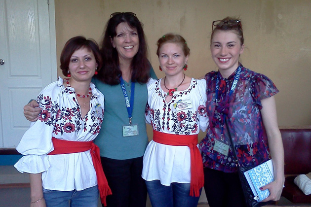 TCC Board Member and Past President Pamela Barrus (second from left) at a polling station in Ukraine