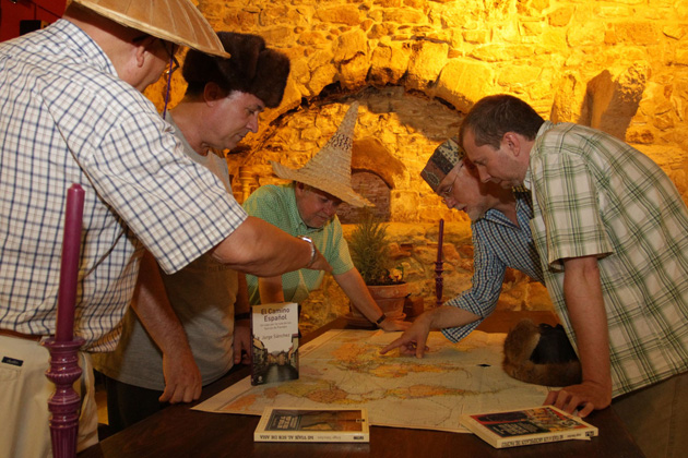 Discussing destinations on the map, and wearing traditional hats, at their recent Spanish meeting: Juan Pons, Jorge Sanchez, Frans Lettenstrom, Martin Garrido and Emili Xaus.