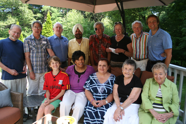 The July 2014 TCC New England gathering. Seated, from left to right: Troy, Santulli (Dave's son, close to provisional membership with 68 countries), Marjorie Ramsey, Anush Dawidjan, Mary Sweeney and Themis Stoumbelis. Standing, from left to right: Harvey Wartosky, Ned Lynch, Nils Bormanis, Arvi Bahal (our generous host), Daan Sandee, Noel Mann, Jerry Sweeney and New England Coordinator Dave Santulli. Not pictured:  Pam Bahal.