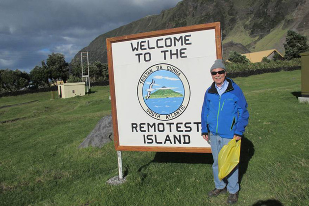 Don Parrish at Tristan de Cunha, the world's most remote inhabited island.