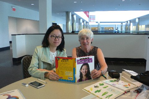 """New York Area Coordinator Lynn Simmons participates in a program at Stony Brook University called the Osher Lifelong Learning Institute (OLLI), which serves retired and semi-retired members of the community. As an OLLI member, she volunteers as a """"covernsation partner"""" for foreign students who need to practice their English with a native speaker.  She is pictured here with one of her conversation partners, a student from China named Eva."""