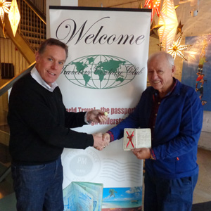 Bob Bryant receiving his 60th anniversary pin