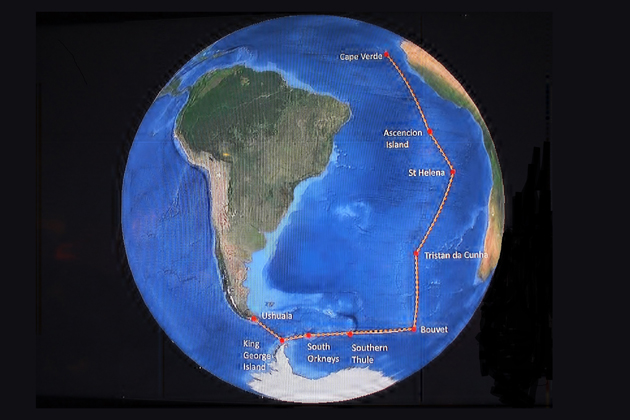 This globe shows the routing of the 35-day cruise.