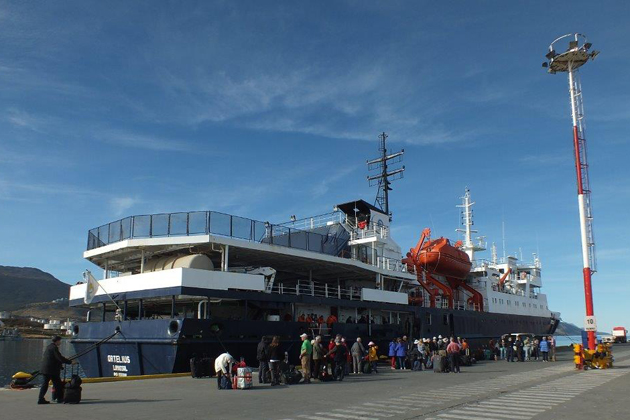 TCC members are shown boarding the Ortelius in Ushuaia.