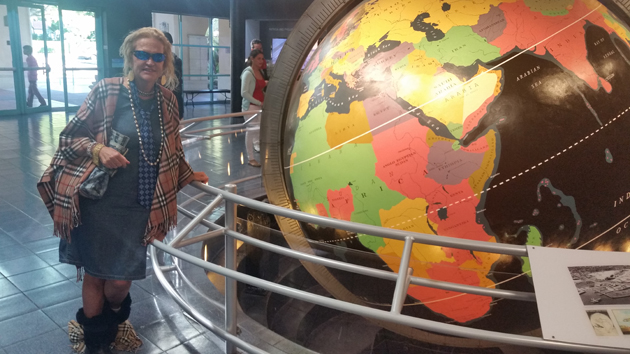 The original Pan Am spinning globe from Dinner Key Seaplane Hangar is now on display at te Science Museum in Coconut Grove, Miami. Pictured here with Southeast Floriday Coorindator Jan Novar, who was a Pan Am Purser on Board from 1972 to 1991.