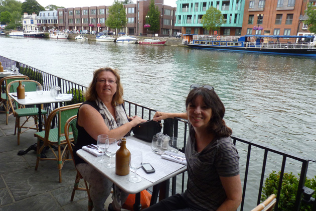 """Following the UK hike, Pam had dinner in Windsor with UK Coordinator Donna Marsh. One of the many benefits of TCC membership is the opportunity to meet up with other members from around the world during your travels. Pam is one of our best """"ambassadors."""""""