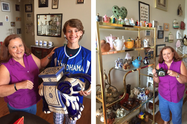 Anush Dawidjan showed members her many travel collections, including teapots, tea cozies, airplane pens, ceramics, masks, etc.