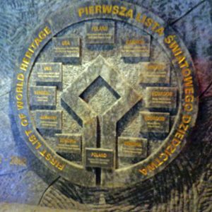 UNESCO World Heritage Site plaque at the Wieliczka Salt Mines in Poland