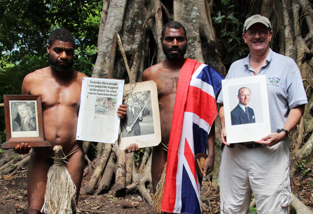Dr. Lew Toulmin with members of the Prince Philip tribe of Vanuatu