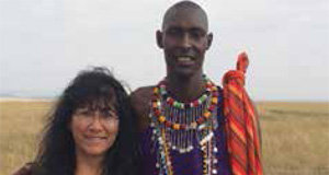 March Speaker Lillie Echevarria will give a presentation on the Five Stans. She is pictured during her visit to Masai Mara this past fall.