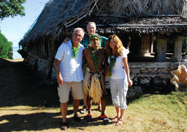 On Yap. Front (l-r): Steve Owad-Jones, local chief, Dianne Owad-Jones. Back: Paul Biermasz