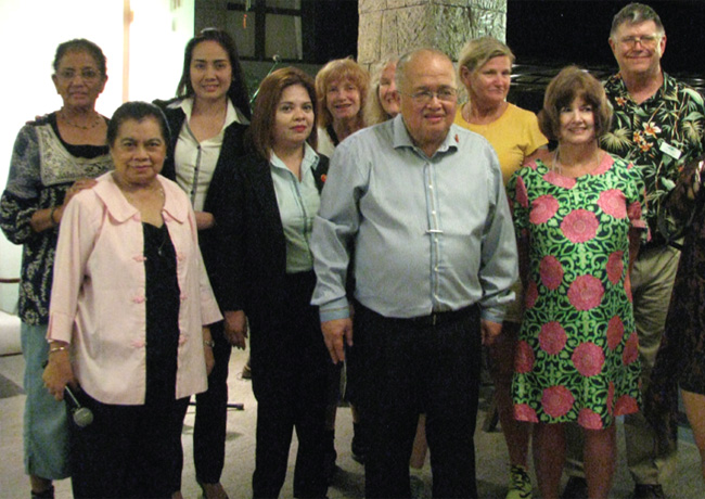 The TCC meets up in the Philippines. From l-r: provisional TCC member Suzi Alias, Sonia Santiago, Cris Monjardin, Lee Ulangca, TCC member Linda Bell, TCC member Debbi Allen, host and TCC member Dominador Buhain, provisional TCC member Dorothy Jackson, provisional TCC member Mary Ann Sunderland, and St. Louis Coordinator Charles Merkel.